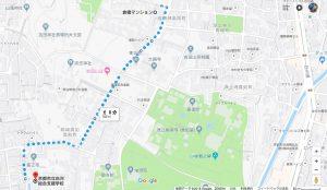 倉橋マンションー白河総合支援学校避難所順路マップ